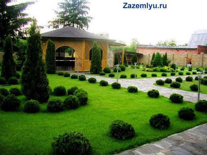 Зеленый газон, беседка, дорожки