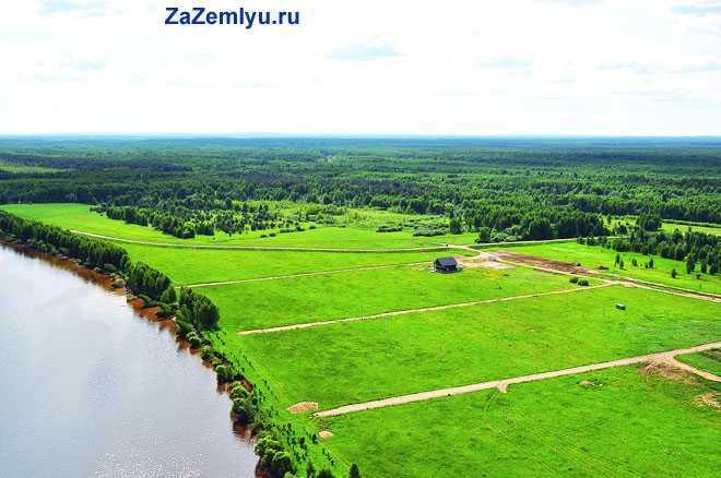 Богатые урожаем поля рядом с речкой
