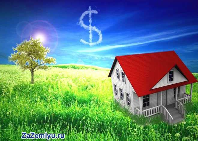 Домик на зеленном поле, небе облачно в виде доллара