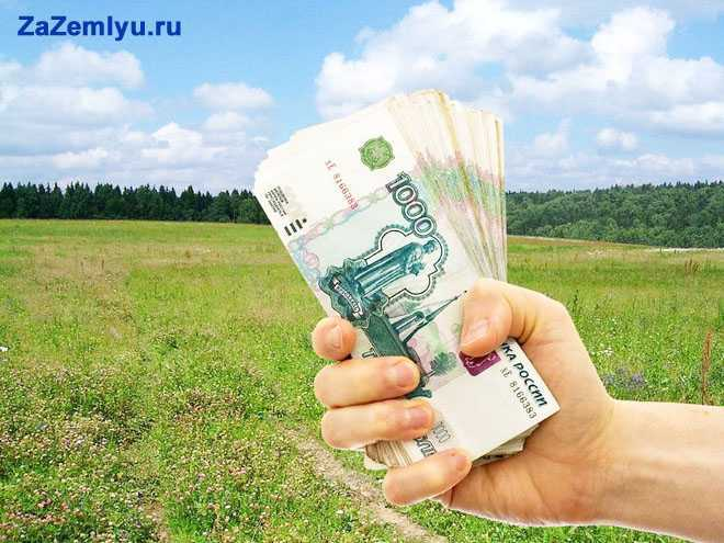человек держит в руке деньги за землю