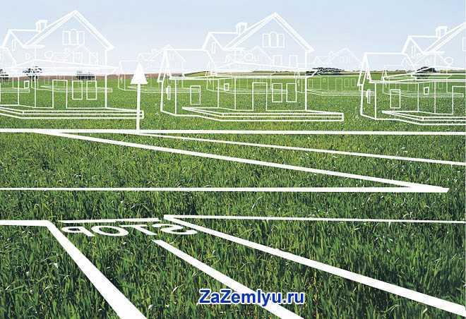 В зеленом поле нарисованы дома