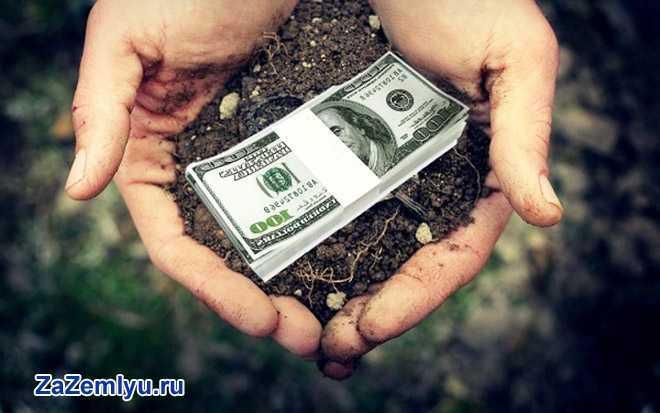 В ладонях человека земля и пачка денег
