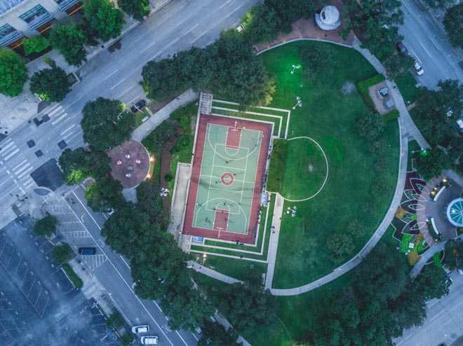 Футбольный стадион, вид сверху