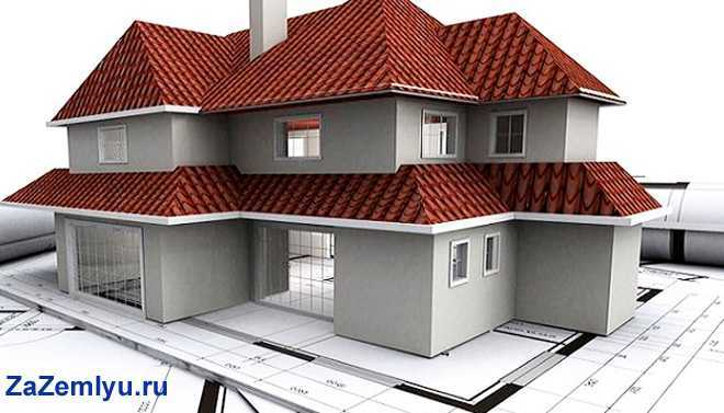 Дом с красной крышей стоит на чертежах и картах